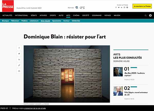 Dominique Blain-résister pour l'art